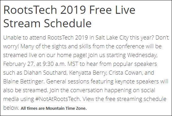 Rootstech 2019 Livestream schedule