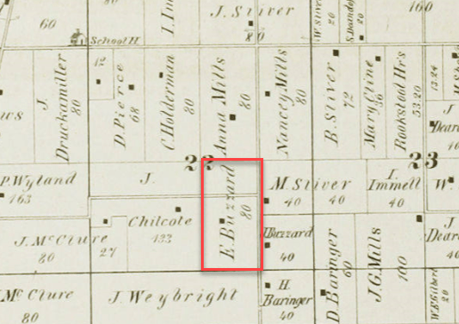 Hiram Ferverda Elkhart Co deed 1874 map