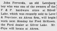 John Ferverda 1924 hardware store sale