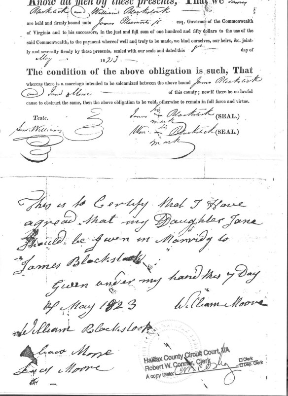 William Moore 1823 signature Jane Moore to James Blackstock.jpg