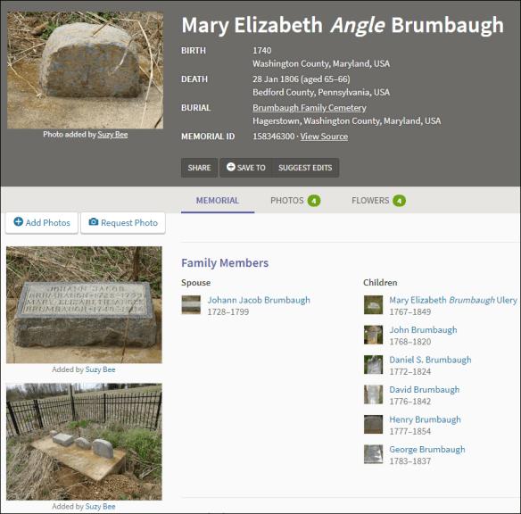 Mary Elizabeth Angle Brumbaugh FindAGrave.png