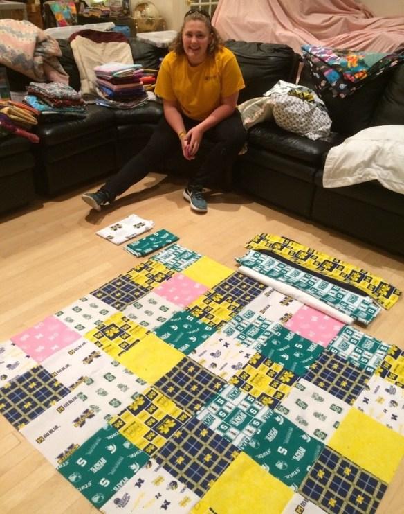Phoebe planning college quilt.jpg