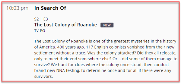 Lost Colony History Channel