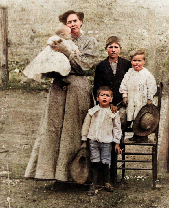 Estes Ollie and kids 1907 colorized and enhanced