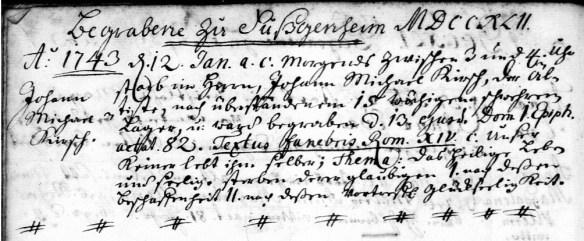Kirsch 1743 Michael Kirsch burial