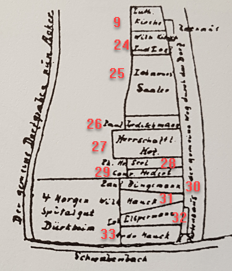 Kirsch Fussgoenheim over village numbered
