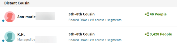 Ancestry search results