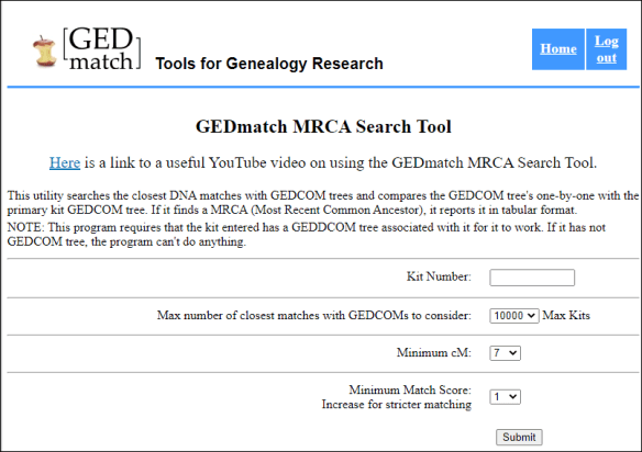 gedmatch mrca search