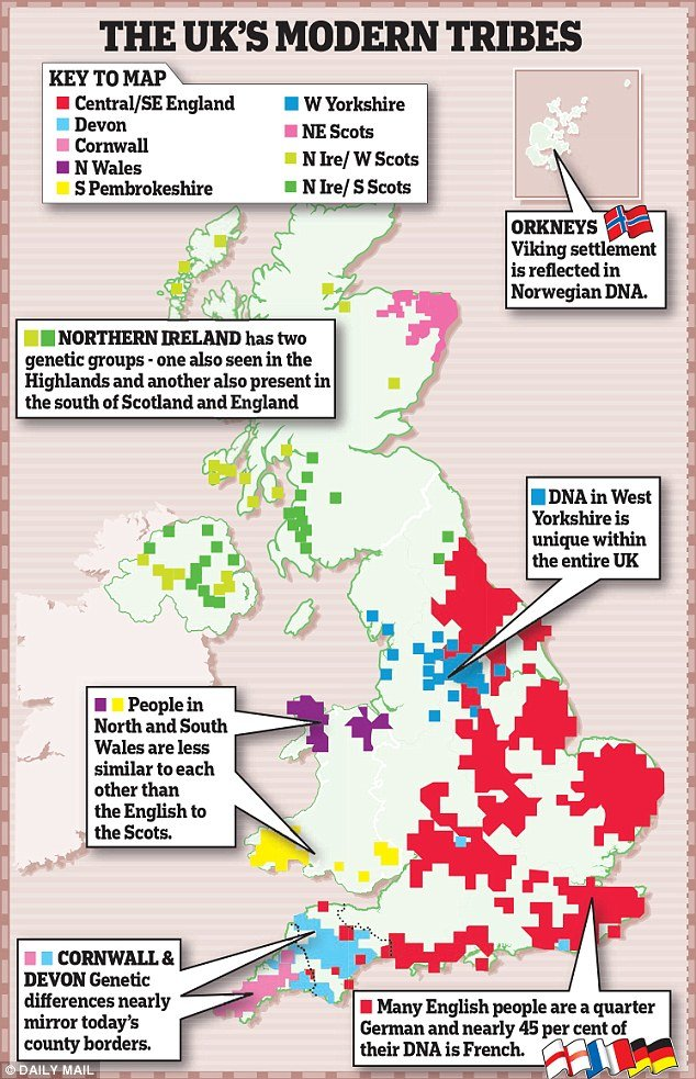 Carte représentant les 17 clans différents présents dans le Royaume uni. © Dailymail