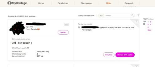 Une fiche de cousin génétique (la photo et son identité ont été masquées) sur MyHeritage.com