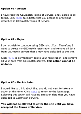 The 3 options to access GEDmatch now