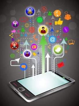 mobile phone showing apps, website optimized for mobile devices