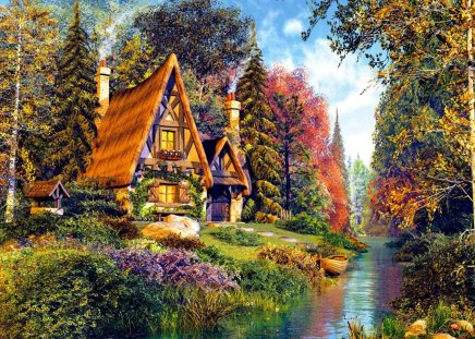 Thomas Kinkade Fall Wallpaper Fairytale Cottage Other Amp Abstract Background Wallpapers