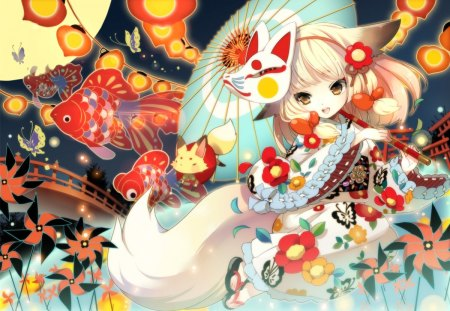 Cute Anime Girl With Fox Mask Wallpaper Lights Festival Other Amp Anime Background Wallpapers On