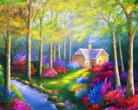 Welcome Home Stream Painting Peaceful Nice Forest Nature Trees
