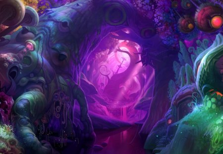 3d Mushroom Trip Wallpaper Fantasy Forest Fantasy Amp Abstract Background Wallpapers