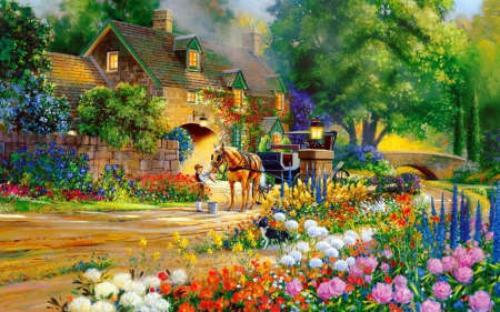 Thomas Kinkade Fall Desktop Wallpaper Painting Flowers Amp Nature Background Wallpapers On
