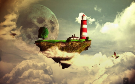Fantasy Girl Dream Floating House Castle Wallpaper Floating Land Fantasy Amp Abstract Background Wallpapers