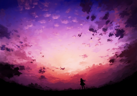 Beautiful Colorful Girls Anime Sakura Wallpaper Sunset I Miss You So Much Other Amp Anime Background