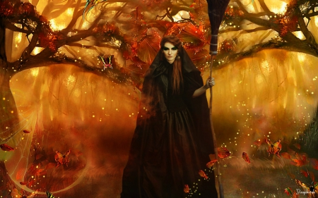 Fall Trees Wallpaper For Desktop Autumn Witch Fantasy Amp Abstract Background Wallpapers On