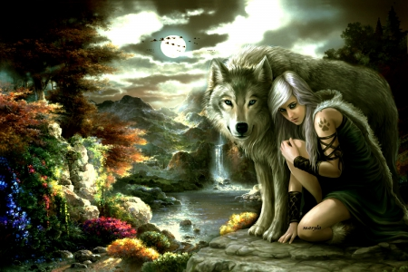 Zedge Wallpapers Cute Girl Fantasy Girl With A Wolf Waterfalls Amp Nature Background