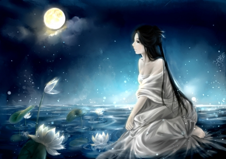 Long Hair Girl Cartoon Hand Painted Wallpaper White Lotus Other Amp Anime Background Wallpapers On
