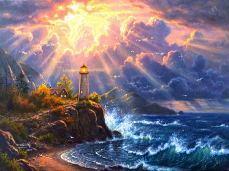 Beautiful Fall Paintings Wallpapers Dramatic Lighting Lighthouses Amp Architecture Background