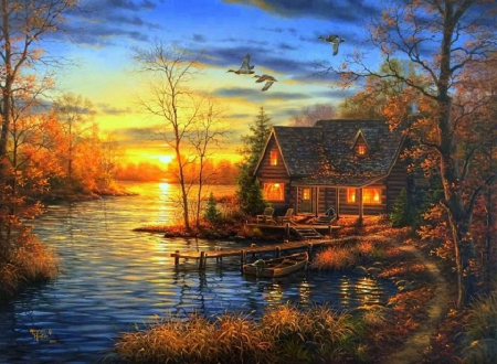 Thomas Kinkade Fall Wallpaper Sunrise Lake Lakes Amp Nature Background Wallpapers On