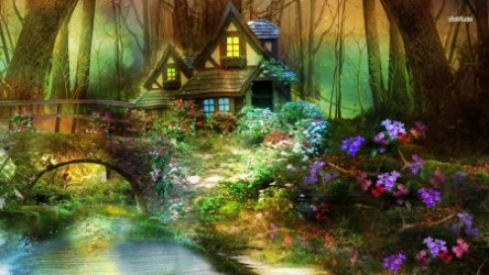 forest fantasy hut enchanted nature purple waterfall painting flowers pretty background wallpapers desktop 3d flower lake fairy