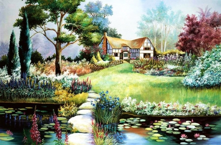 Home Sweet Painting Boat House Trees Artwork Flowers