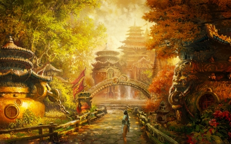 Beautiful Fall Paintings Wallpapers Forbidden City Fantasy Amp Abstract Background Wallpapers