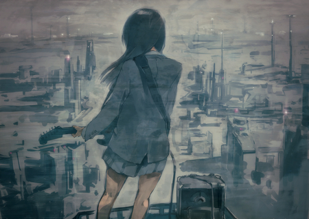 Sad Girl With Guitar Wallpaper Fading Away Other Amp Anime Background Wallpapers On