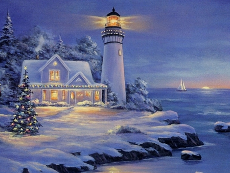 Xmas lighthouse  Winter  Nature Background Wallpapers on