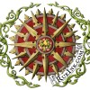 """red and gold compass surrounded by green vines with autumn leaves in the center; """"Autumn's Crown Compass"""" by Deven Rue"""