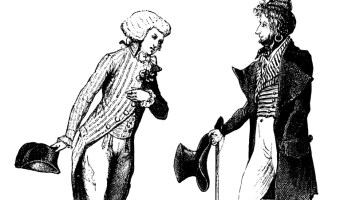 Two men speaking to one another, one with a tri-hat and wig, bowing to the other, with a tophat, overcoat, and cane
