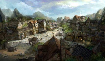 Mountain Fantasy Village Art 1