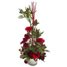 Αγάπη για πάντα Ευρηματική σύνθεση από κόκκινα τριαντάφυλλα και ζέρμπερες
