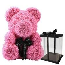Ροζ αρκουδάκι - 20cm Ροζ αρκουδάκι με αφρώδη τριαντάφυλλα ύψους 20cm