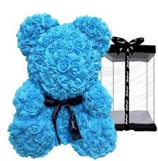 Μπλε αρκουδάκι - 40cm Μπλε αρκουδάκι με αφρώδη τριαντάφυλλα ύψους 40cm
