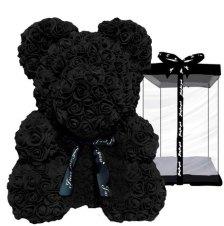 Μαύρο αρκουδάκι - 40cm Μαύρο αρκουδάκι με αφρώδη τριαντάφυλλα ύψους 40cm