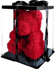 Κόκκινο αρκουδάκι - 40cm Κόκκινο αρκουδάκι με αφρώδη τριαντάφυλλα ύψους 40cm