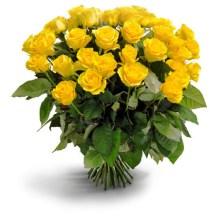 Φωτεινή πολυτέλεια Μπουκέτο από σαράντα κίτρινα τριαντάφυλλα