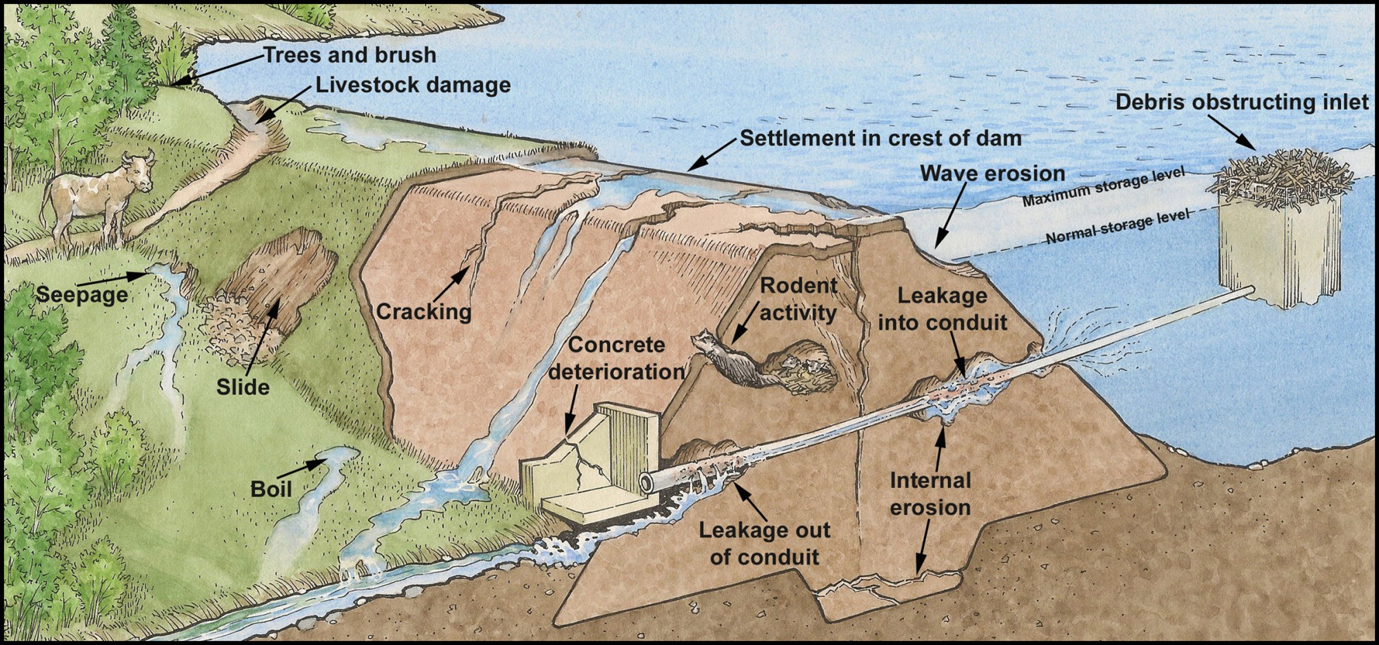 hight resolution of diagram of a flawed dam with labels showing what is flawed