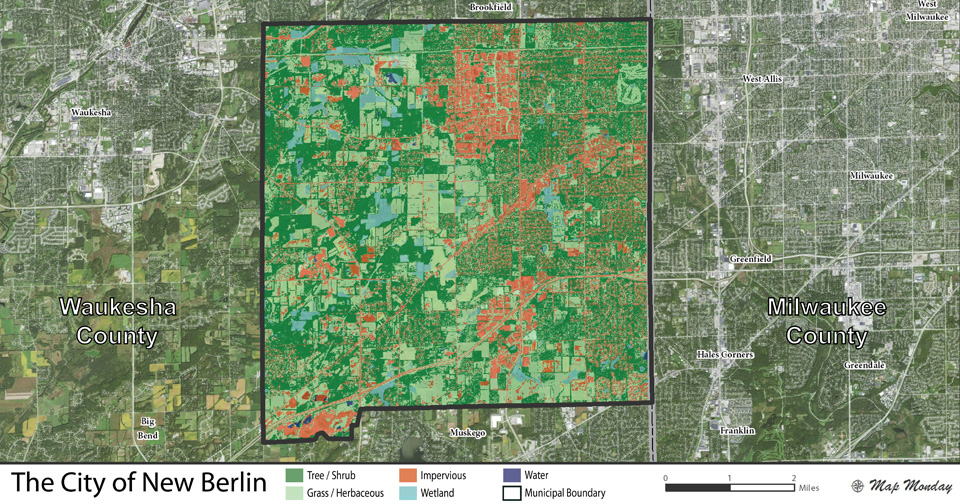 Map showing City of New Berlin tree canopy - Photo credit: DNR