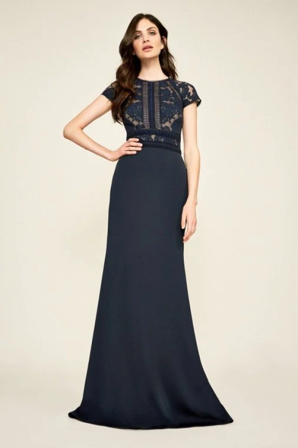 Tadashi Shoji Lace-Bodice Crepe Gown
