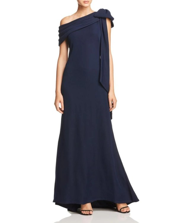 Tadashi Shoji One-Shoulder Crepe Gown