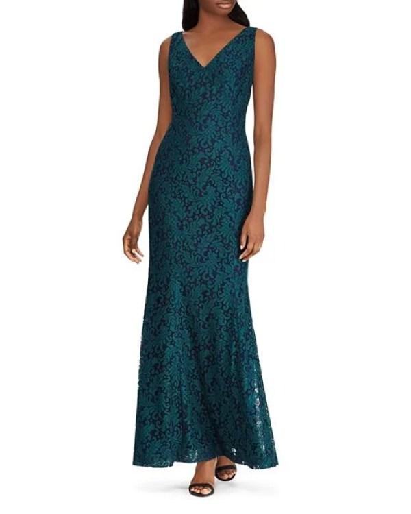 Lauren Ralph Lauren Fluted Lace Gown