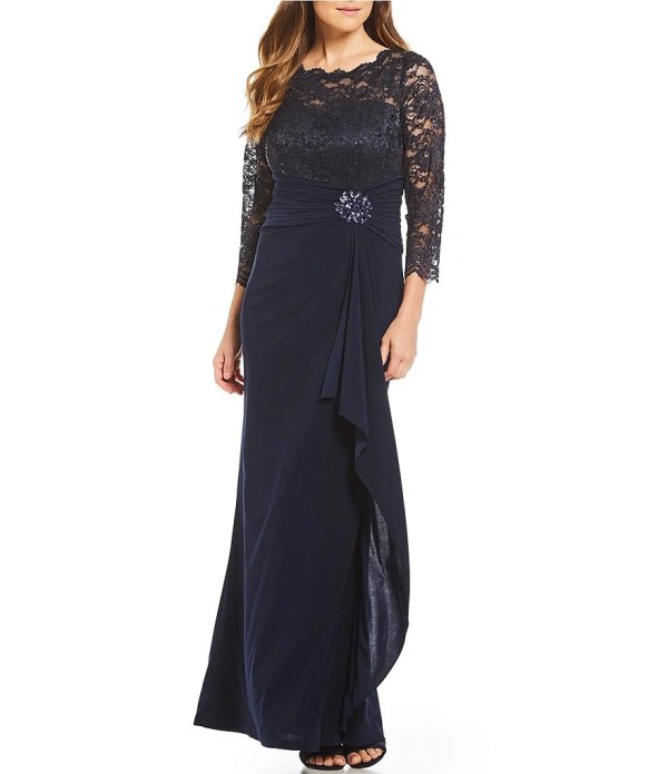 Cachet Lace Bodice Drape Embellished Waist Gown