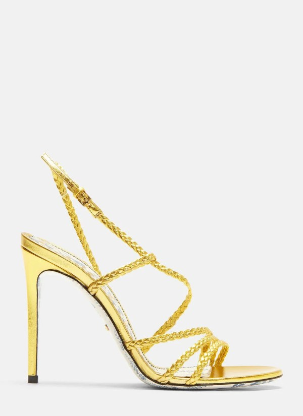 Gucci Haines Braided Metallic Leather Slingback Sandals