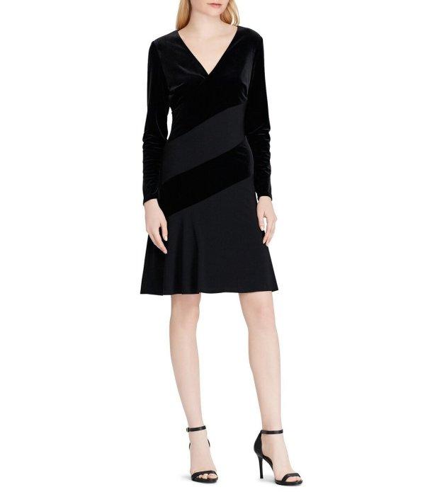 Lauren Ralph Lauren Surplice V-Neck Long Sleeve Ruched Side Velvet Sheath Dress
